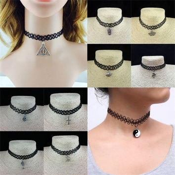 Women Jewelry Punk Retro Rope Star Sun Pendant Neck wear Collar Short Tattoo Choker Necklace Elastic Section For Cosplay