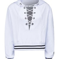White Plunge Lace Up Front Stripe Trims Hoodie