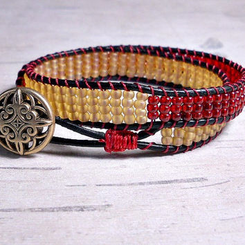Red and Cream beaded Double Wrap Bracelet, Leather Double Wrap, Wrap Around, Bead Wrap Bracelet
