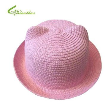 PEAP78W 2017 Fashion Straw Hats Summer Baby Cat Ear Decoration Lovely Child Character Girls And Boys Sun Hat Solid Children Beach Cap