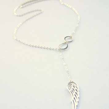 Sterling Silver Angel Necklace, Silver angel wing pendant with infinity necklace, lariat chain