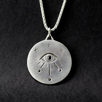 All Seeing Eye Protection Medallion in sterling silver with black diamonds / Eye of Providence / Third eye / Talisman / Evil Eye necklace