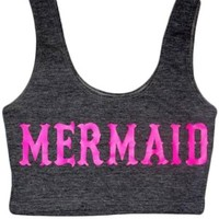 Women's Mermaid Crop Top - Pink/Gray