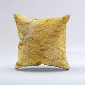 Golden Furry Animal Ink-Fuzed Decorative Throw Pillow