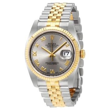 Rolex Datejust Rhodium Dial Steel and 18K Yellow Gold Mens Watch 116233RRJ