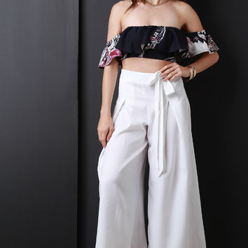 Pleated Waist-Tie Wide Leg Pants | UrbanOG