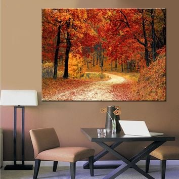 Wall Art Pictures Living Room Canvas HD Prints 1 Piece/Pcs Red Forest Landscape Painting Home Decor Fall Season Poster Framework