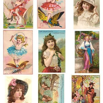 Printable Victorian Trade Cards Butterflys Mermaids Romantic Children Ephemera Digital Collage Sheet for altered art scrapbook decoupage