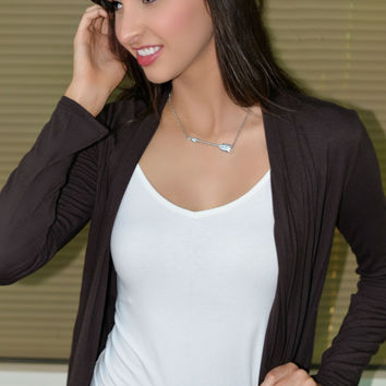 Go With The Flow Cardigan Brown