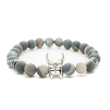 Gray Agate Gemstones Beaded Bracelet for Men and Women