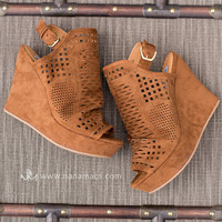 You Don't Belong Cut Out Suede Wedges In Tan