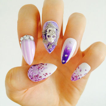 Purple and lilac nails skull stripe ombre glitter stud white nails