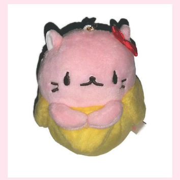 BANANYA CAT Plush CHARM Phone Strap Kawaii Banana Kitty Cat Japan Pink Cat Red Hair Bow Backpack Charm Soft Plushie Banana Pussycat Gift Bff