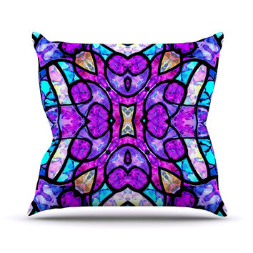 "Art Love Passion ""Kaleidoscope Dream"" Pink Purple Outdoor Throw Pillow"
