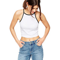 Contrast Halter Cropped Top