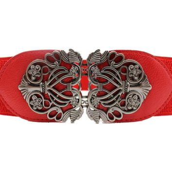 Vintage Look Womens Belt Alloy Flower PU Leather Belt Belt Fancy Buckle 4 colors
