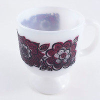 Vintage Flower Coffee Mug Milk Glass Flower Mug Pedestal Mug Burgundy Black Flower Mug Mid Century Mug Lover Mug Lovers