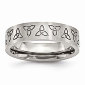 Stainless Steel Engraved Trinity Symbol Brushed 6mm Wedding Band Ring
