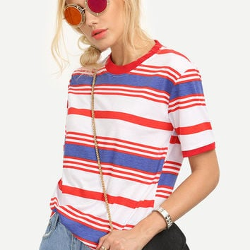 Ribbed Neck Colorful Striped T-shirt [6259172100]