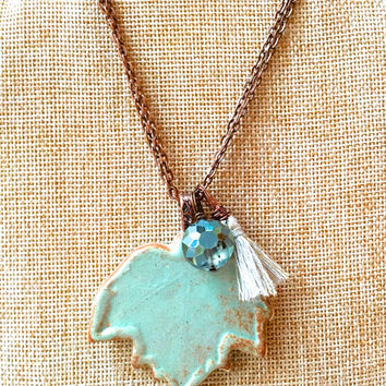 Green Leaf Mix & Match Charm Necklace essential oil diffuser necklace nature jewelry copper boho tassel necklace crystal