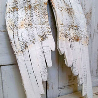 Large wooden wings white angel wall sculpture hand painted rusty metal distressed home decor Anita Spero