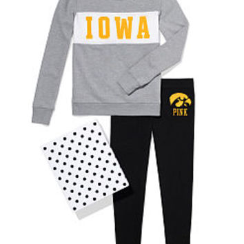 University of Iowa Colorblock Crew & Legging Gift Set - PINK - Victoria's Secret