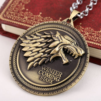 HOT Movie Game of Thrones Vintage Jewelry House Stark wolf pendant necklace Bronze Pendants Silver chain Choker collier