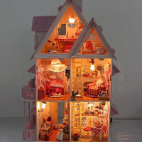 Promotion Wooden Dollhouse Miniature Foreign Style House Villa With 6 Lights DIY Doll House