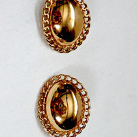 vintage gold tone clip ons antique earrings retro gold oval earrings