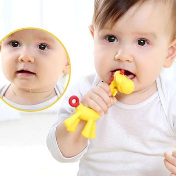Baby Teethers Giraffe Gum Tooth Stick Food Grade Silica Gel Teething Necklace Hanging Toy Infant Pacifier Dental Care Chew Toy
