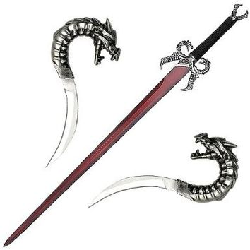 Ace Martial Arts Supply Stainless Dragons Breath Fire Medieval Fantasy Sword with Plaque and 2 Daggers, 44-Inch, Red
