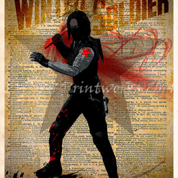 Winter Soldier, Avengers art, Vintage Silhouette print, Retro Super Hero Art, Dictionary print art