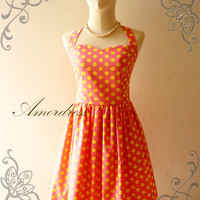 Amor Vintage Inspired Juicy Pink Yellow  Polka Dot Dress Neck Tie Style - Once Upon A Time-  Size S-