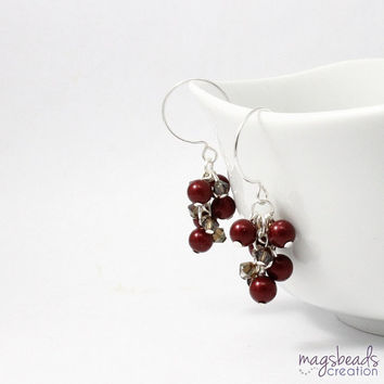 Dark Red Pearl Earrings, Bordeaux Red Pearls Earring, Red and Brown, Crystal and Pearl, Autumn Earrings, Deep Red Shade, Brides, Wedding