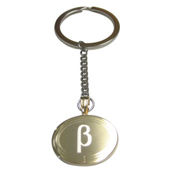 Gold Toned Etched Oval Greek Letter Beta Pendant Keychain
