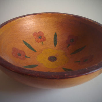 Vintage 70's Wood Bowl with Decorative Painted Flowers