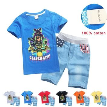 2018  at Freddy Boys Kids Baby Boy Clothing jeans Set Casual T Shirts Top Denim Shorts Pants Boys 2PCS Summer Outfits