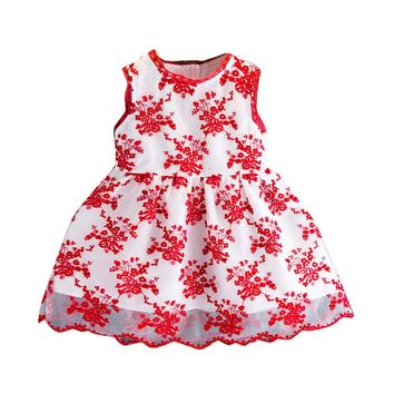 Girls Summer Dress with Floral Print Embroidery Princess Wedding Lace Dress Kids Tulle Dresses for Girls vestidos infantis