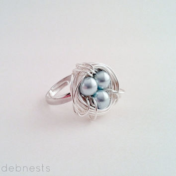 Bird Nest Ring, Light Blue Glass Beads in Silver Plated Wire Nest, Adjustable Band