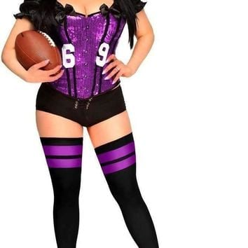 "Daisy Corset 2 PC Sexy ""Football Fantasy"" Costume Purple"