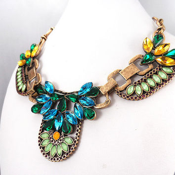 J. Crew Style Inspired Colorful Crystal Necklace Necklace ,Green & Blue Statement Necklace,bridesmaid gifts, bib necklace,Fashion Necklace