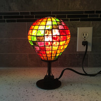 Hot Air Balloon, Home Decor Lamp, Accent Lamp, Tiffany Style, Multicolored Shade, Balloon Enthusiast,  Childs Room Lamp, Unique Small Lamps