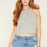 Plus Size Ribbed Knit Crop Top