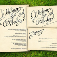 Vintage Modern Elegant Calligraphy Customizable Wedding Invitation and RSVP Card Suite - Double Sided DIY Printable