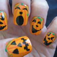 Halloween Design Full Set of Nail Tips-Jack o Lantern Faces