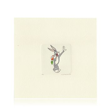 Bugs Bunny Etching Artwork Sowa & Reiser #D/500 Looney Tunes Hand Painted Leaning