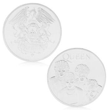 Queen British Rock Band Silver Plated Commemorative Coin Token Collectible Gift