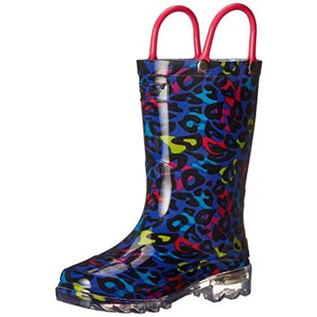 Western Chief Girls Groovy Leopard Leopard Print Light Up Rain Boots
