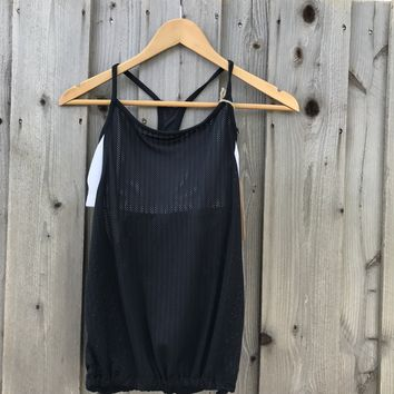 Fabletics Women's Black and White Support Top