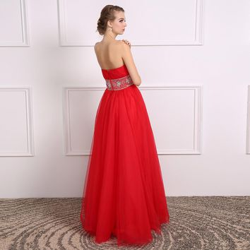 Red Strapless Tulle A Line Long Prom Dresses Beading Sleeveless Backless Floor Length Prom Dress